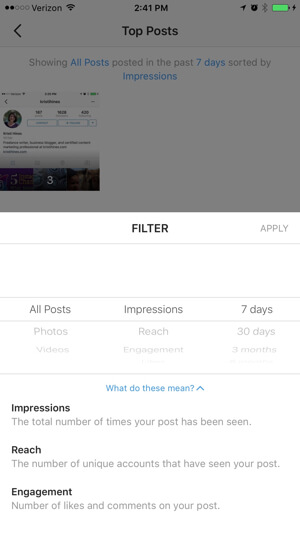 instagram business profile insights filter