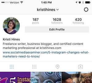 instagram business profile settings