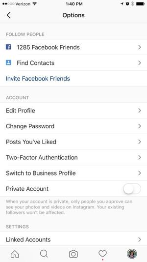 instagram business profiles options