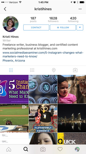 instagram business profile example
