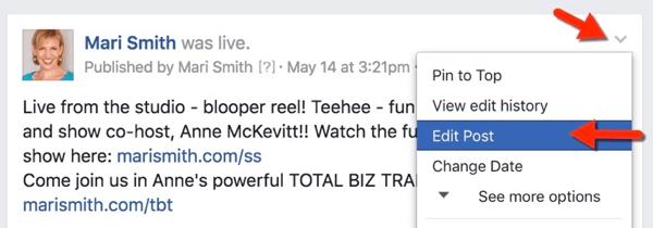 facebook live edit post