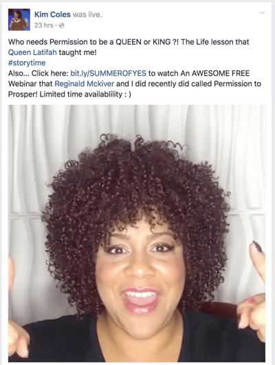 Facebook Live-Aufruf zum Handeln