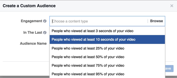 facebook video custom audience