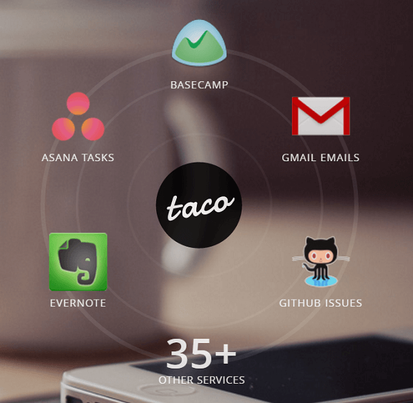 Connect all of your services to the Taco app.