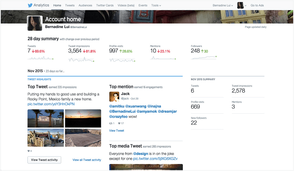 twitter analytics home