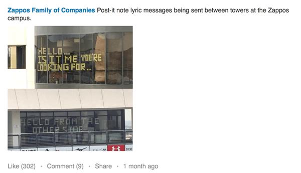 zappos linkedin post