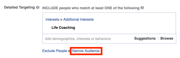 facebook ads narrow audience