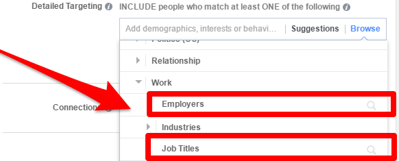 facebook ads target job titles and employers