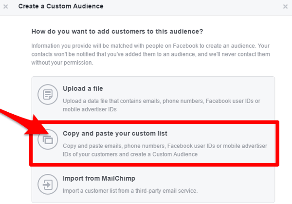 facebook create custom audience