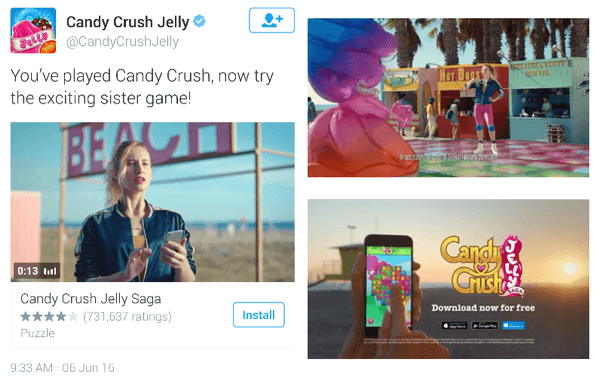 candy crush twitter video ad