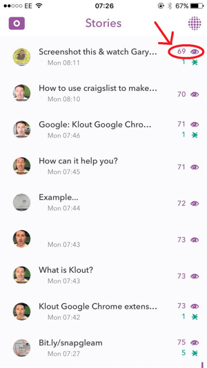 snapchat screenshots metric