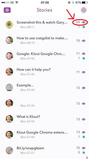 snapchat screenshots metric