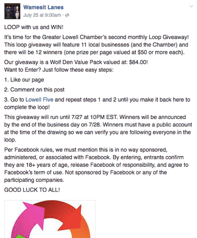 facebook loop giveaway example