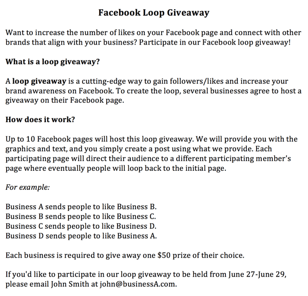 facebook loop giveaway invitation