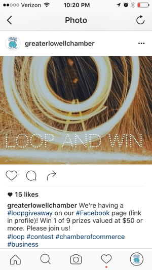 promote facebook loop giveaway on instagram