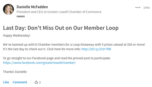 promote facebook loop giveaway on linkedin
