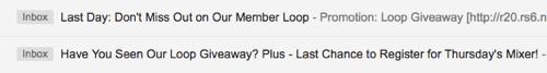 Bewerben Sie Facebook Loop Werbegeschenk per E-Mail