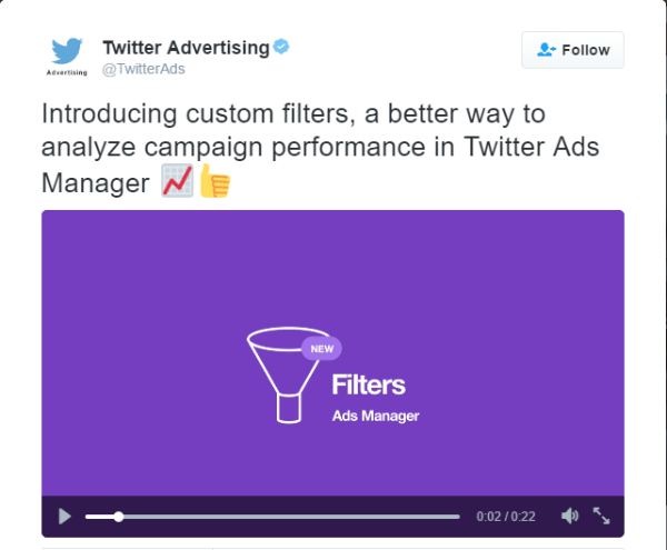 twitter ads manager custom filters