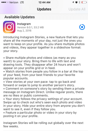 instagram app stories update