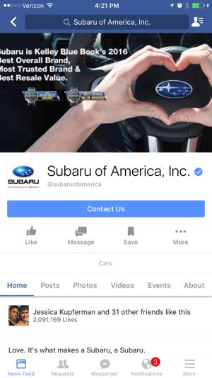 Facebook-Seite mit cta auf dem Handy