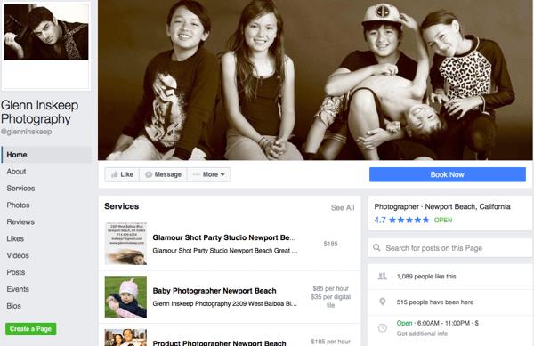 Facebook-Service-Bereich