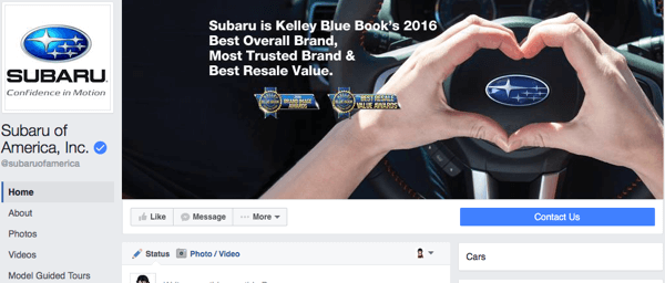 new facebook page design with cta