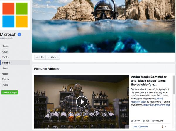 Vorgestelltes Video im neuen Facebook-Seitendesign