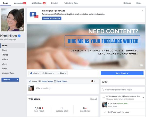 neues Facebook-Seite Admin Design