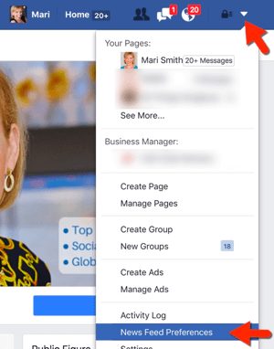 access facebook news feed preferences