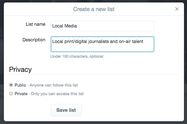 media twitter lists