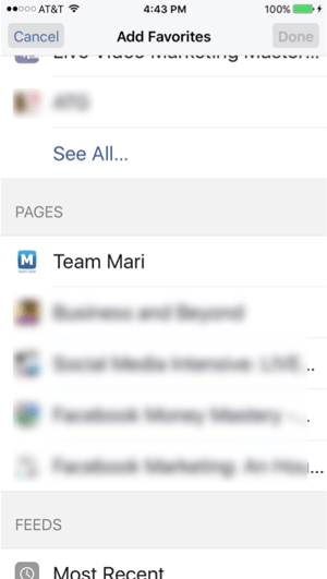 facebook add favorites on mobile
