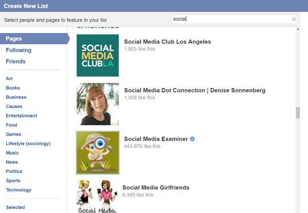 facebook create interest list