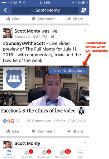 facebook live mobile notifications