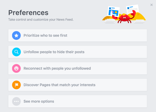 customize facebook news feed preferences