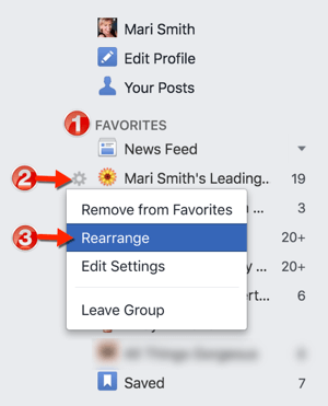 facebook rearrange favorites