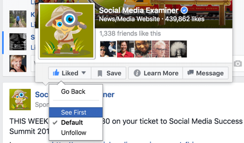 select see first from facebook news feed