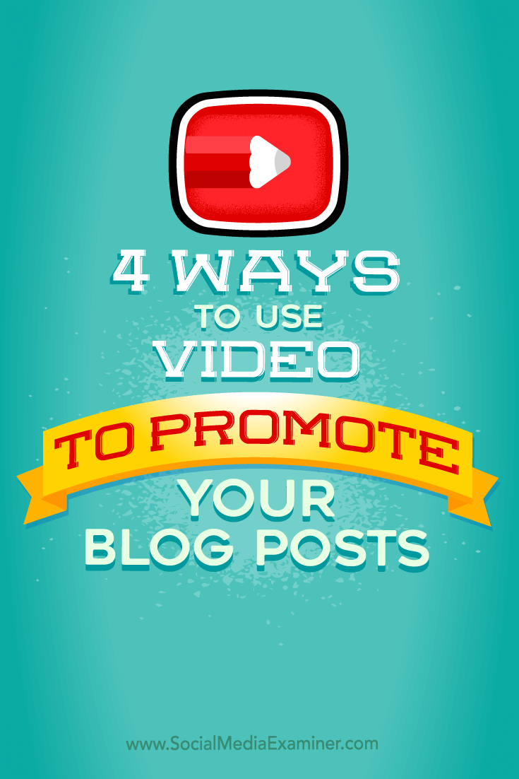 Tips on four ways to promote your blog posts with video.