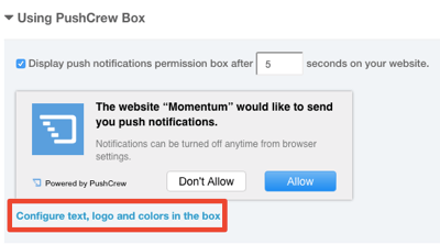 pushcrew default opt-in box