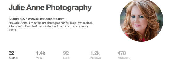 pinterest profile with location information