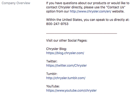 chrysler facebook page company overview