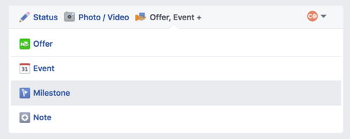 create facebook page milestone