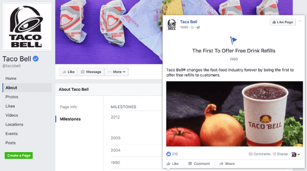 taco bell facebook page milestone