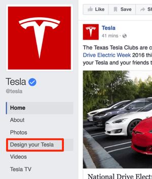 tesla facebook custom tab