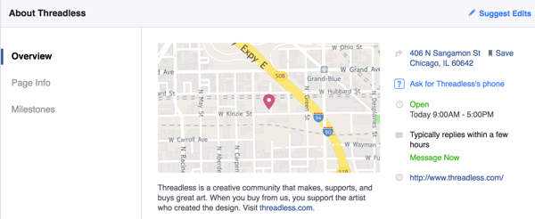 threadless facebook page overview