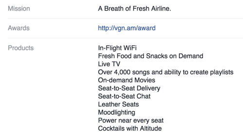 virgin america facebook page overview