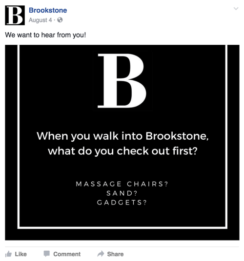 brookstone facebook post