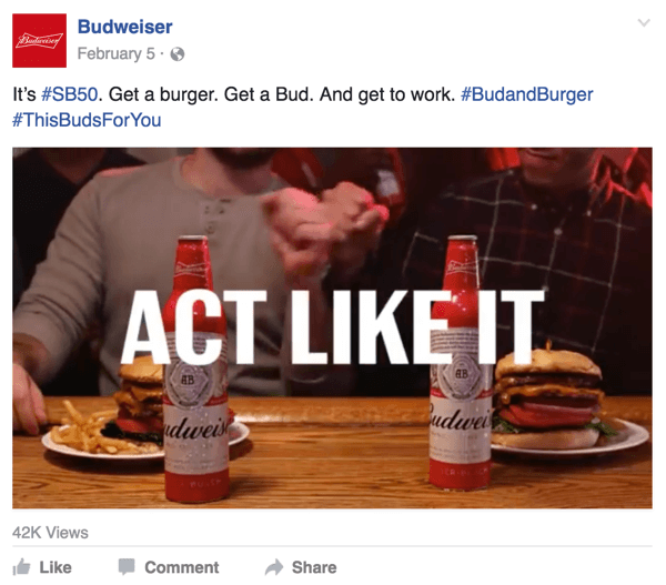 budweiser facebook video ad
