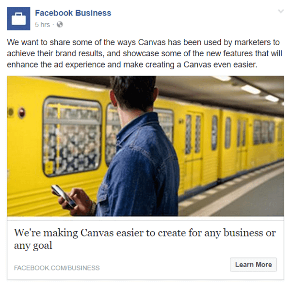 facebook canvas ads features