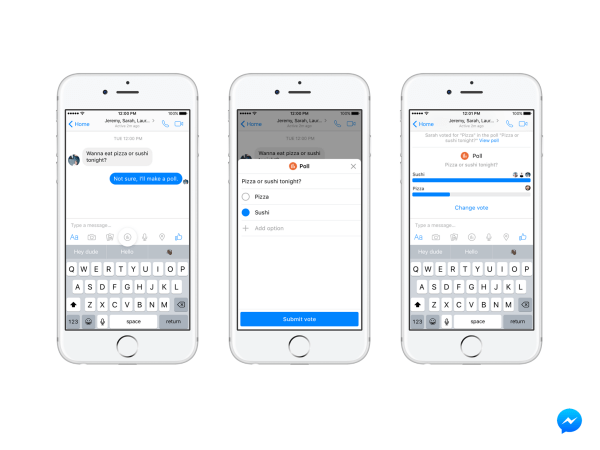 facebook messenger polls and payments