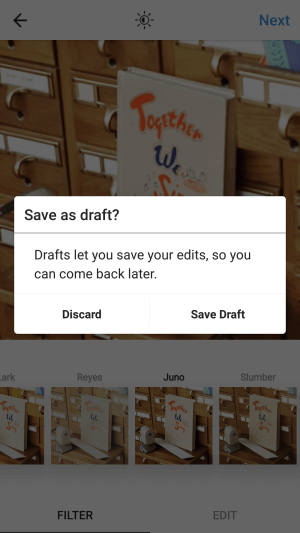 instagram save draft feature